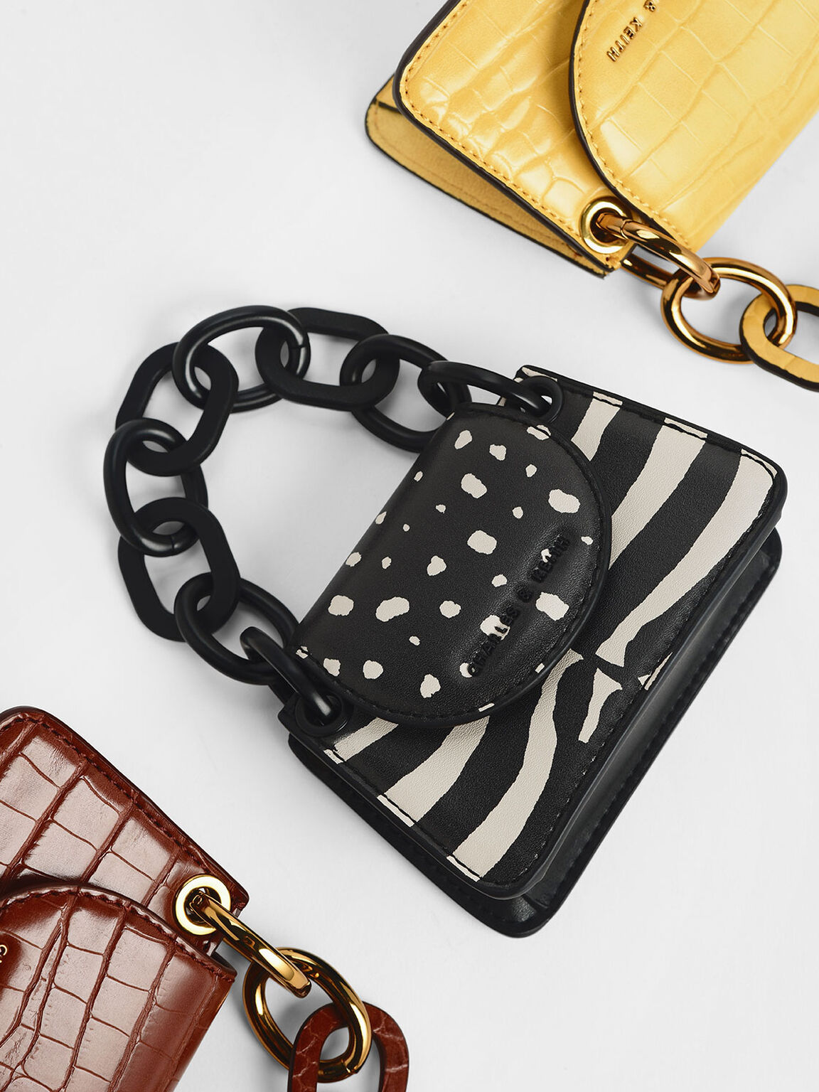 Croc-Effect Chunky Chain Handle Mini Bag, Multi, hi-res