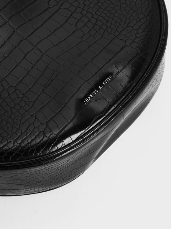 Textured Saddle Bag, Black, hi-res