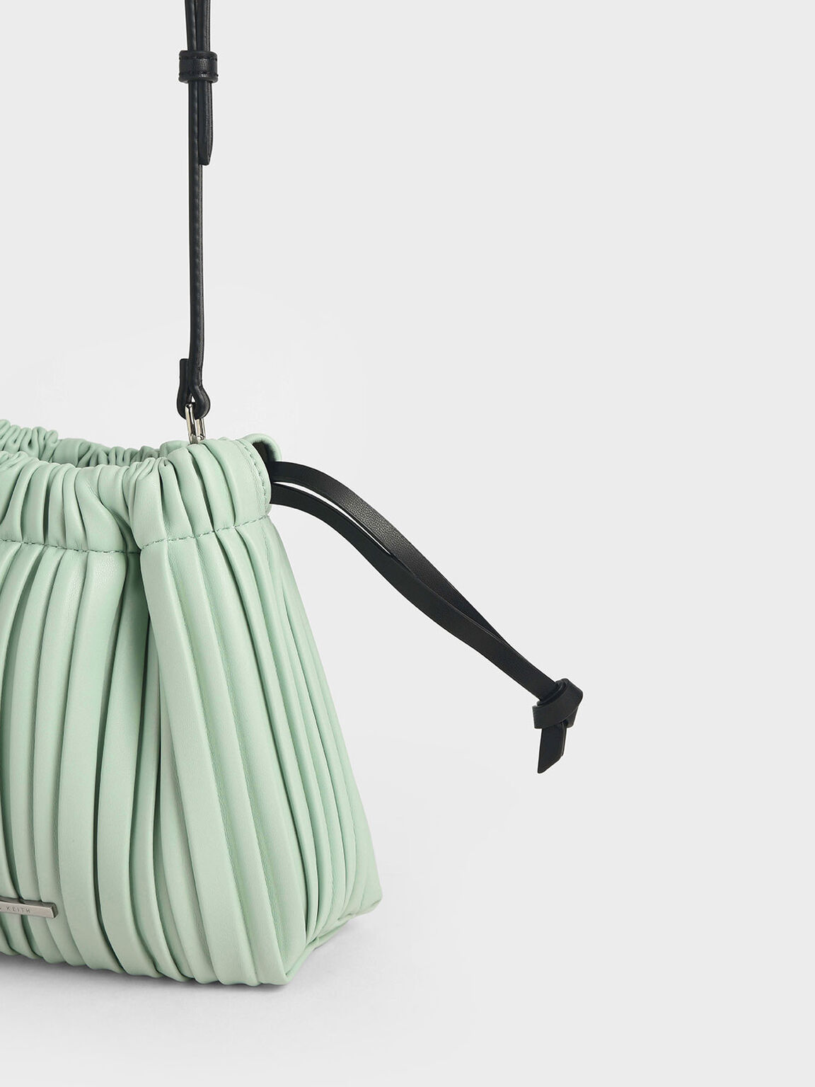 Pleated Drawstring Bag, Mint Green, hi-res