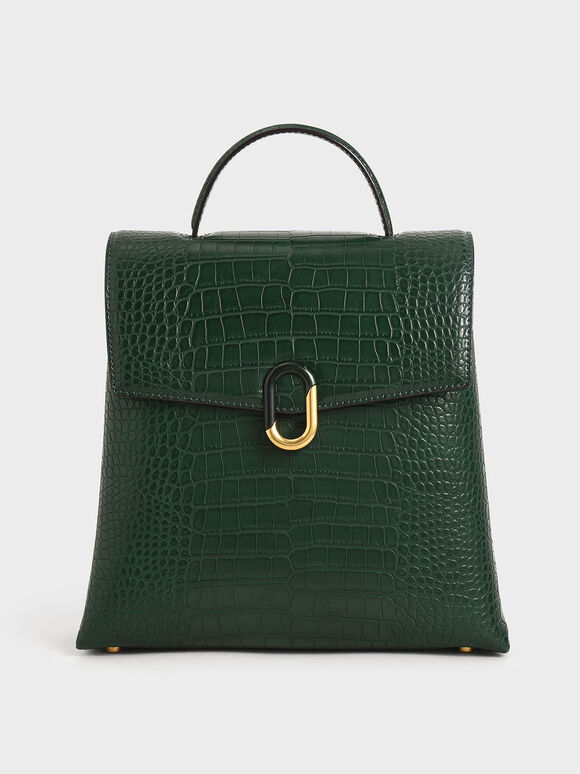 Croc-Effect Stone-Embellished Backpack, Green, hi-res
