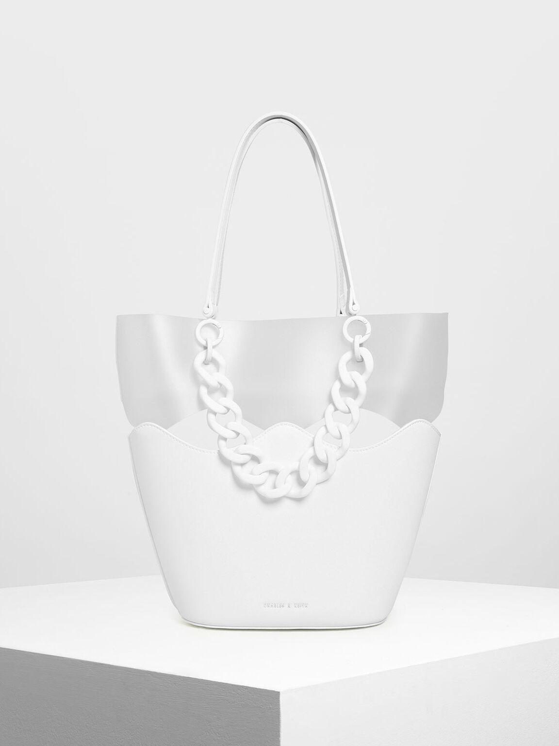 Chunky Chain Tote Bag, White, hi-res
