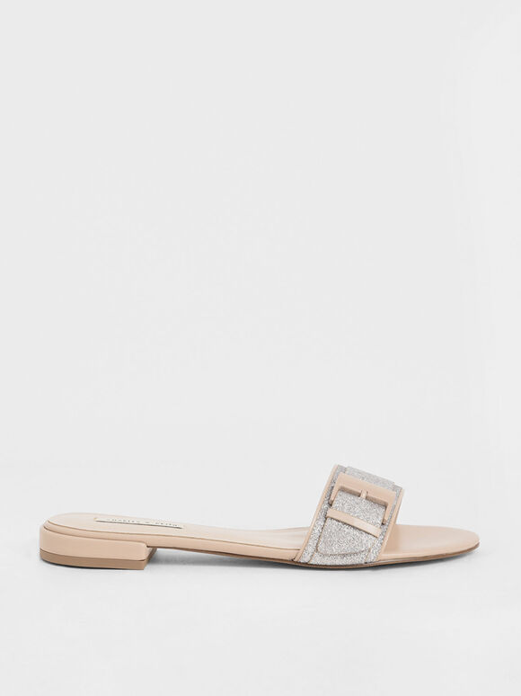 Buckle Strap Glitter Slide Sandals, Silver, hi-res
