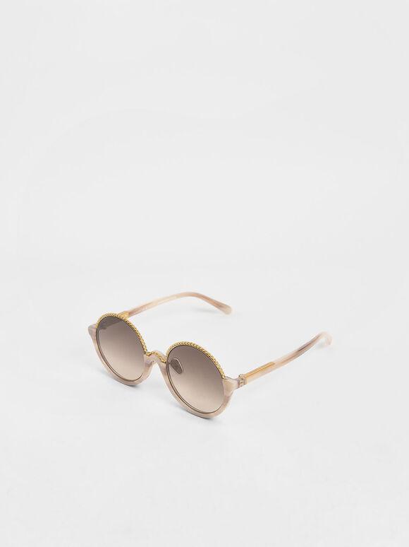 Printed Half Frame Embellished Round Sunglasses, Cream, hi-res