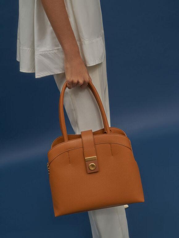 Double Handle Tote Bag, Cognac, hi-res