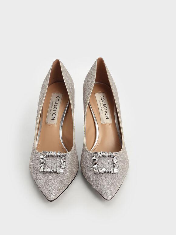 Wedding Collection: Glitter Gem-Embellished Court Shoes, Silver, hi-res