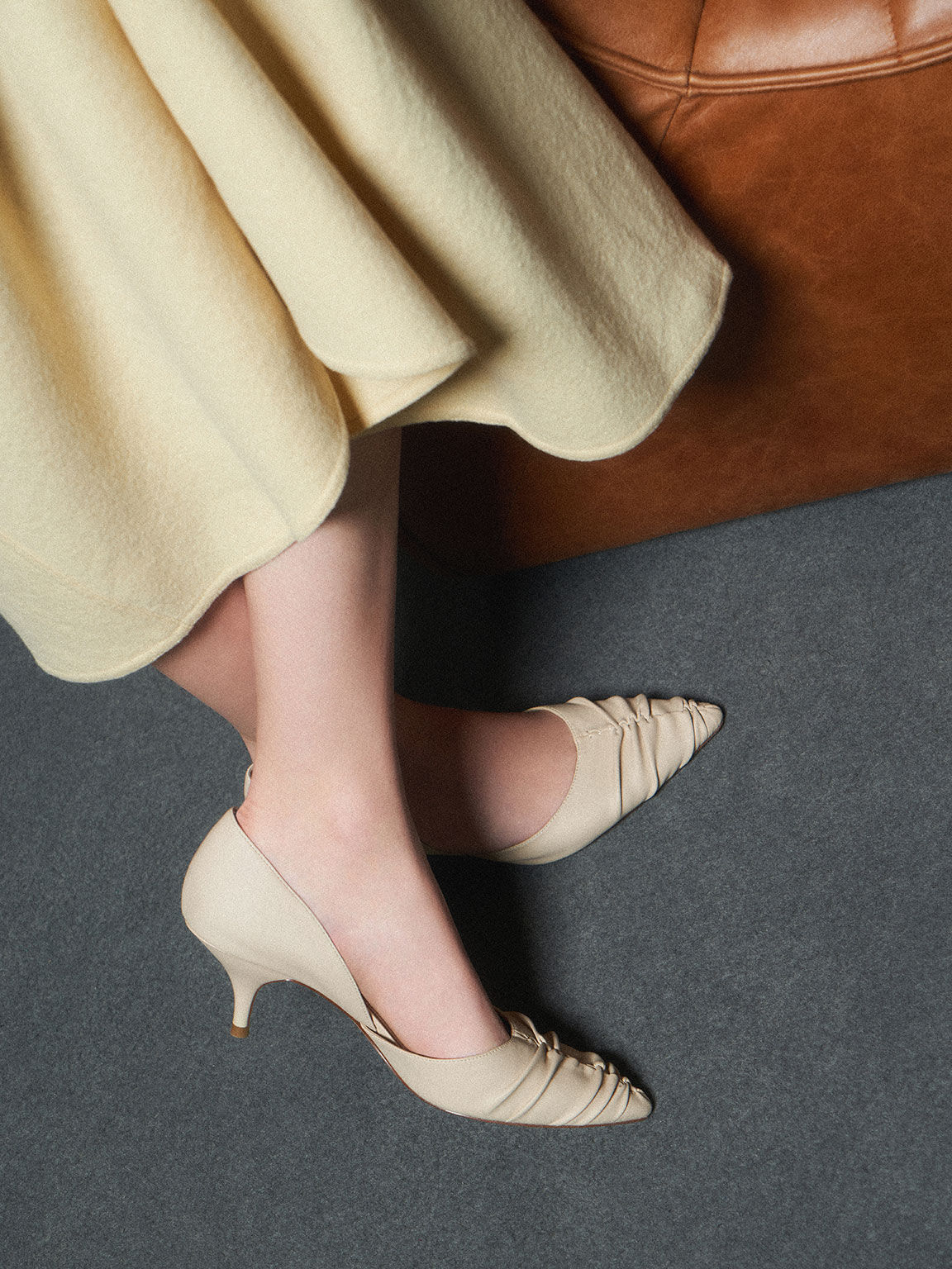 Ruched D'Orsay Court Shoes, Taupe, hi-res