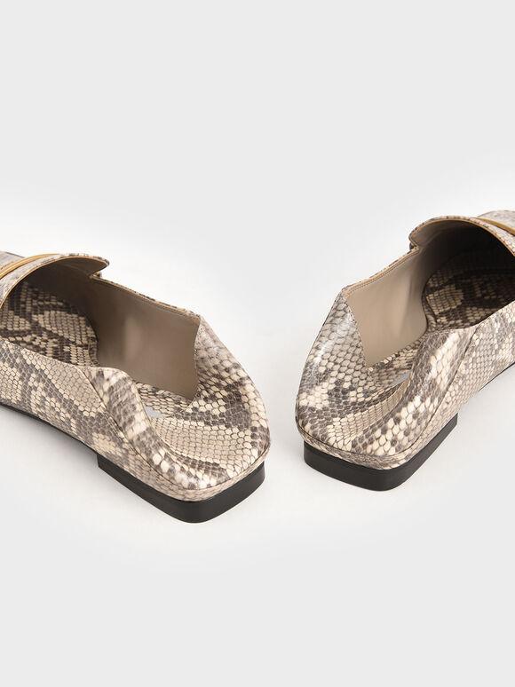 Snake Print Metallic Accent Loafers, Animal Print Natural, hi-res