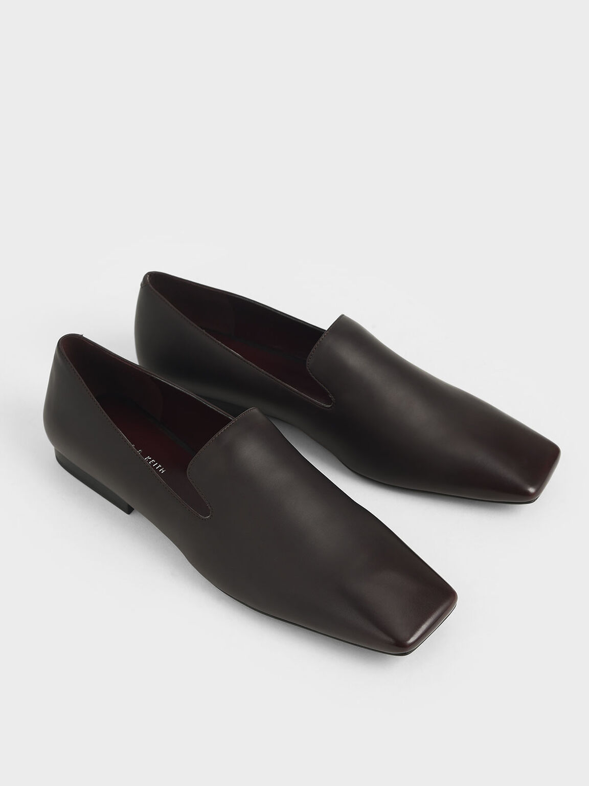 Brushed Effect Square Toe Loafers, Burgundy, hi-res