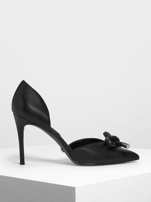 Bow Detail Leather D'Orsay Pumps, Black, hi-res