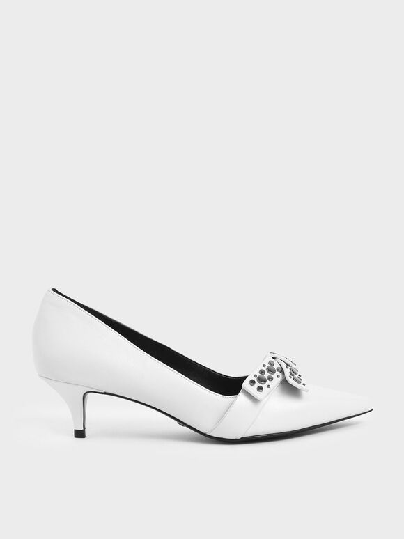 Leather Embellished Pumps, White, hi-res