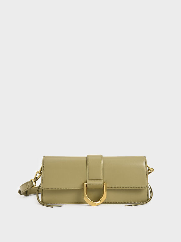 Metallic Buckle Shoulder Bag, Khaki, hi-res