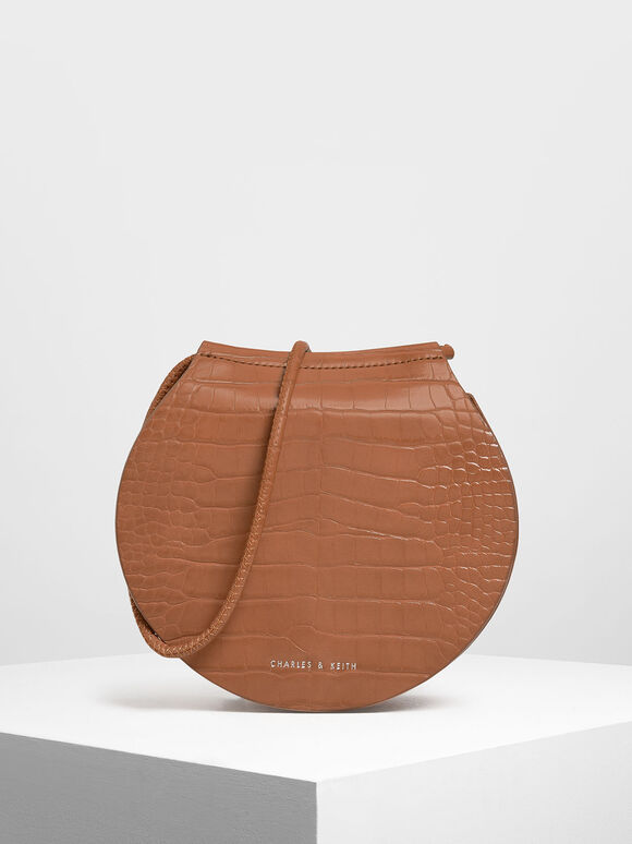 Semi Circle Croc-Effect Crossbody Bag, Tan, hi-res
