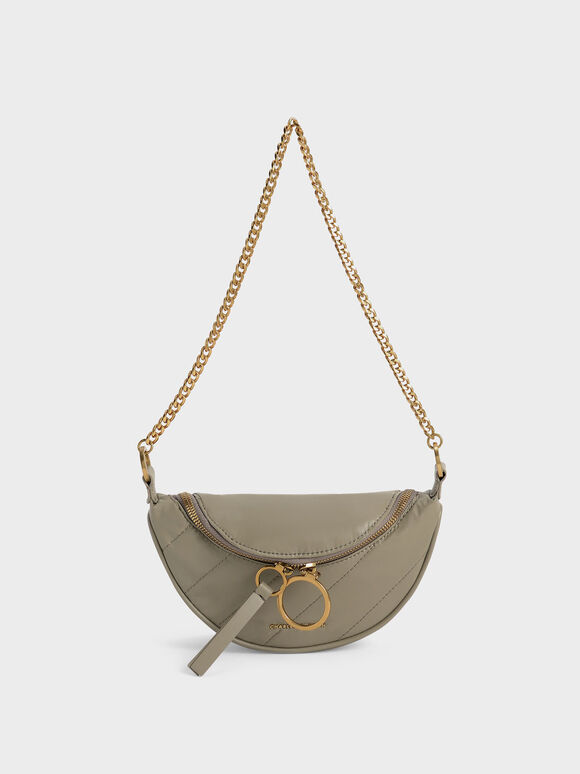 Wrinkled-Effect Half-Moon Crossbody Bag, Taupe, hi-res