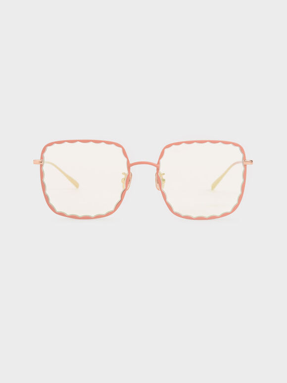 Scallop Trim Butterfly Sunglasses, Pink, hi-res