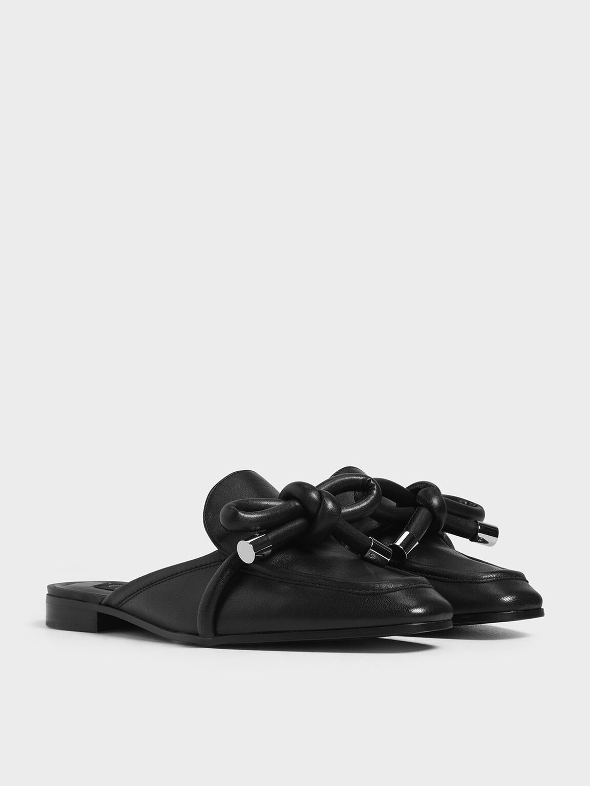 Leather Bow Mules, Black, hi-res