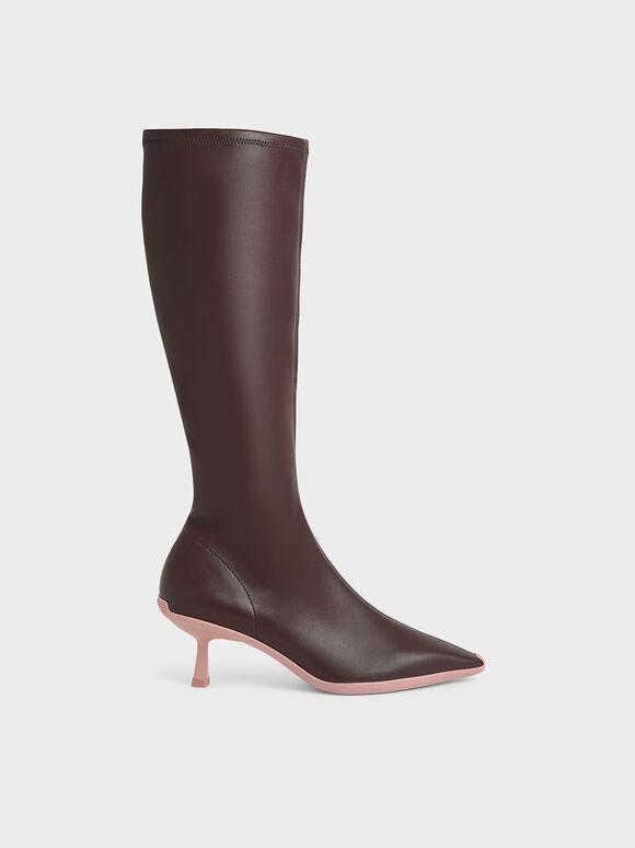 Slip-On Kitten Heel Knee Boots, Dark Brown, hi-res