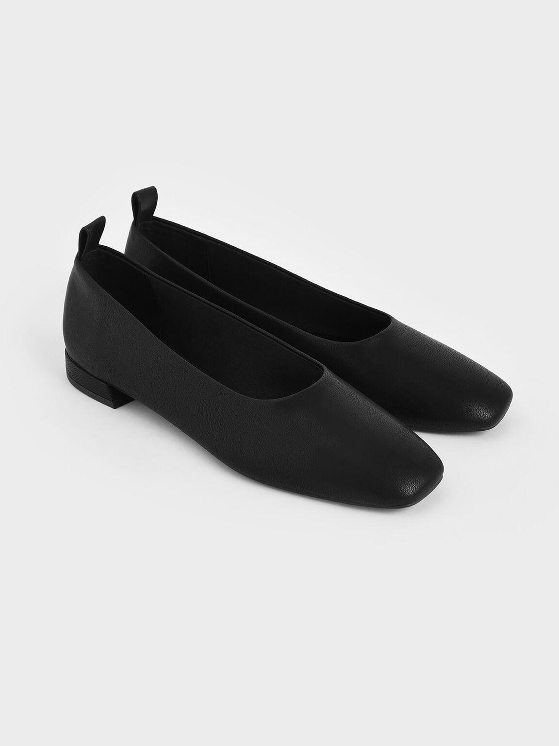 Square Toe Ballerina Flats, Black, hi-res