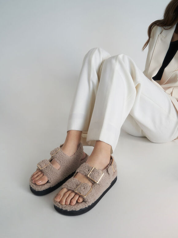 Recycled PET - Furry Flat Sandals, Taupe, hi-res