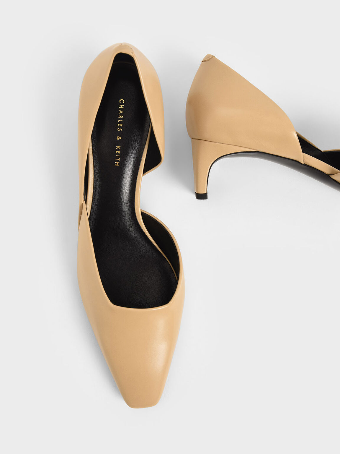 Square Toe D'Orsay Court Shoes, Beige, hi-res
