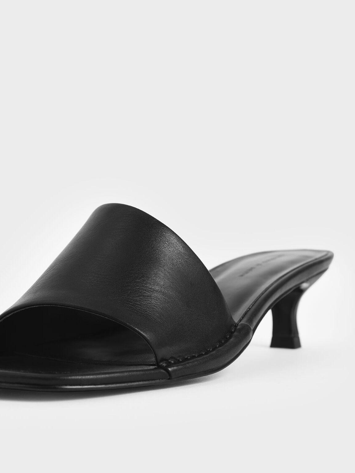 Asymmetric Strap Mules, Black, hi-res