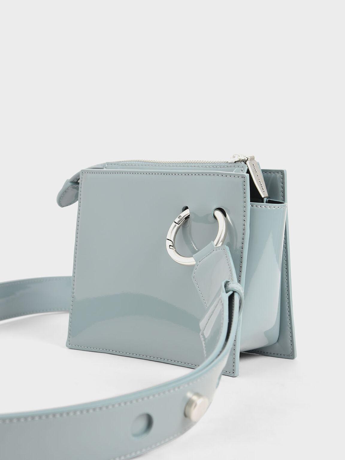 Patent Square Crossbody Bag, Slate Blue, hi-res