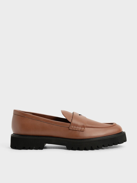 Chunky Penny Loafers, Cognac, hi-res