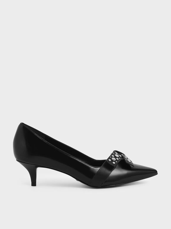 Leather Embellished Pumps, Black, hi-res