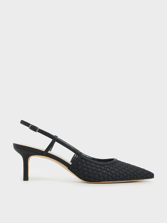 Woven Slingback Pumps, Black, hi-res