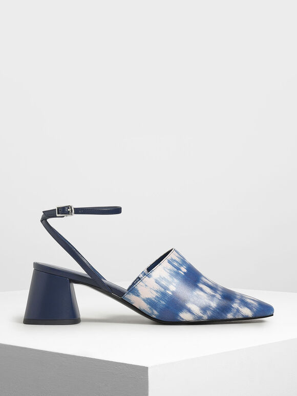 Closed Toe Block Heel Printed Sandals, Dark Blue, hi-res