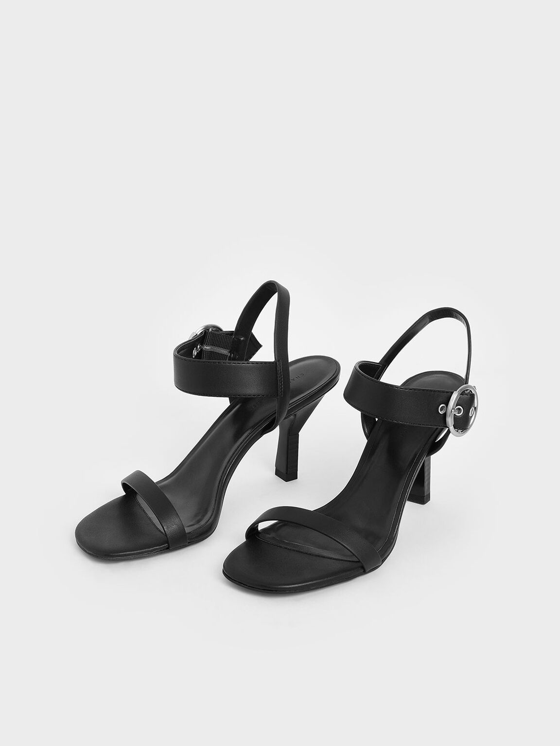 Oversized Buckle Heeled Sandals, Black, hi-res