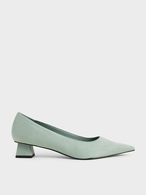 Textured Trapeze Heel Pumps, Mint Green, hi-res