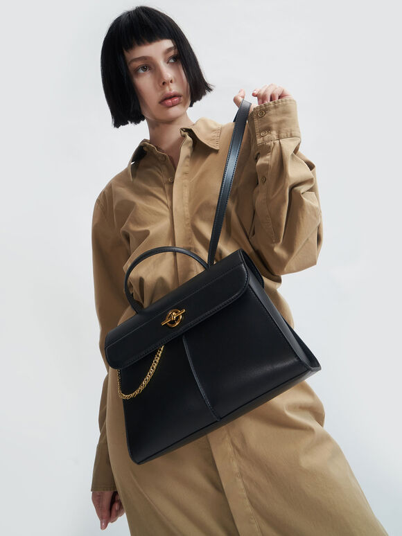 Chain Detail Trapeze Bag, Black, hi-res