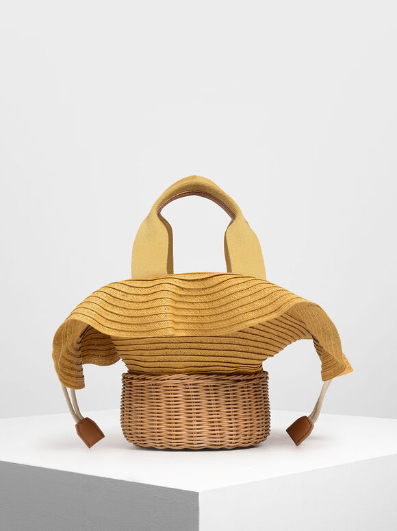 Straw & Rattan Tote Bag, Yellow, hi-res
