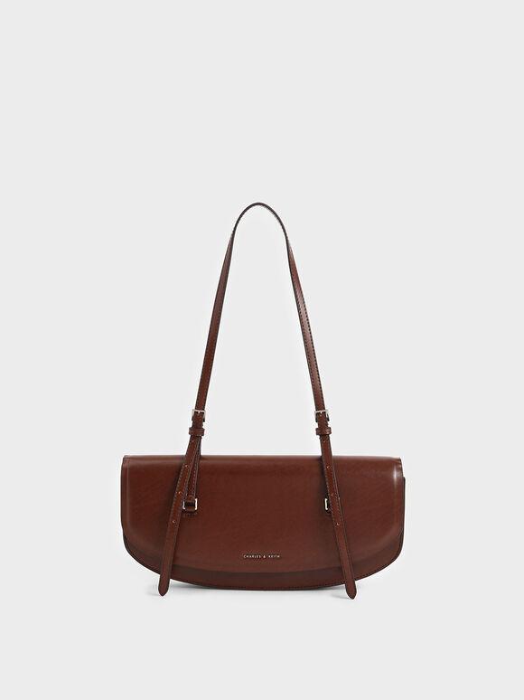 Single Handle Shoulder Bag, Brown, hi-res
