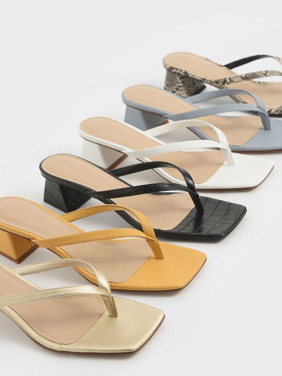 Thong Heeled Sandals, Yellow, hi-res