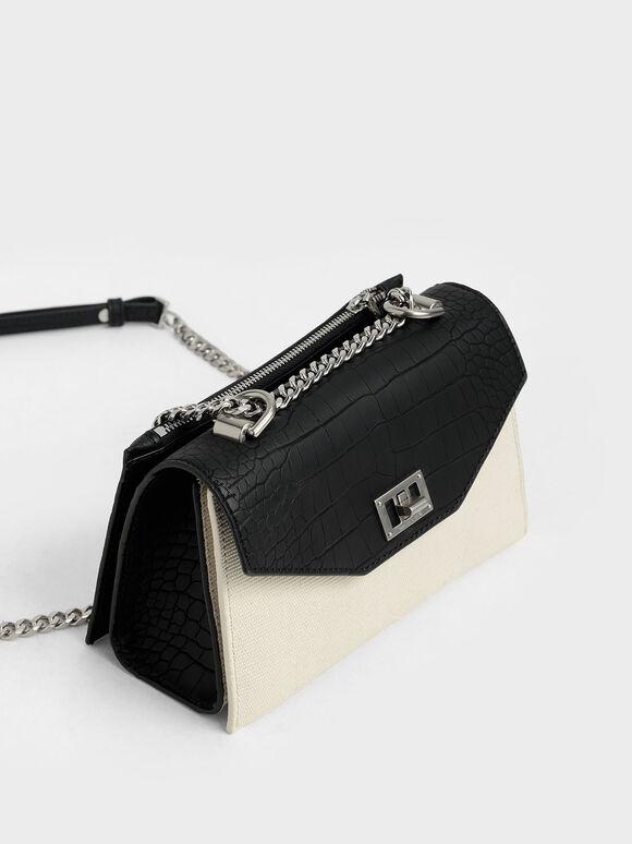 Croc-Effect Canvas Turn-Lock Crossbody Bag, Multi, hi-res