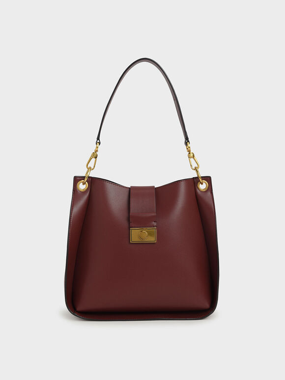 Push-Lock Bucket Shoulder Bag, Burgundy, hi-res