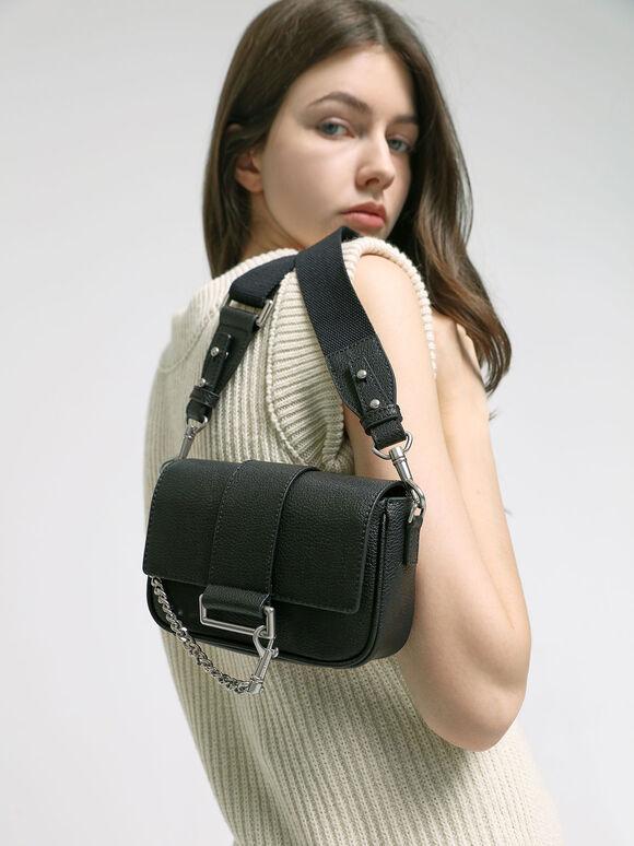 Chain Detail Crossbody Bag, Black, hi-res