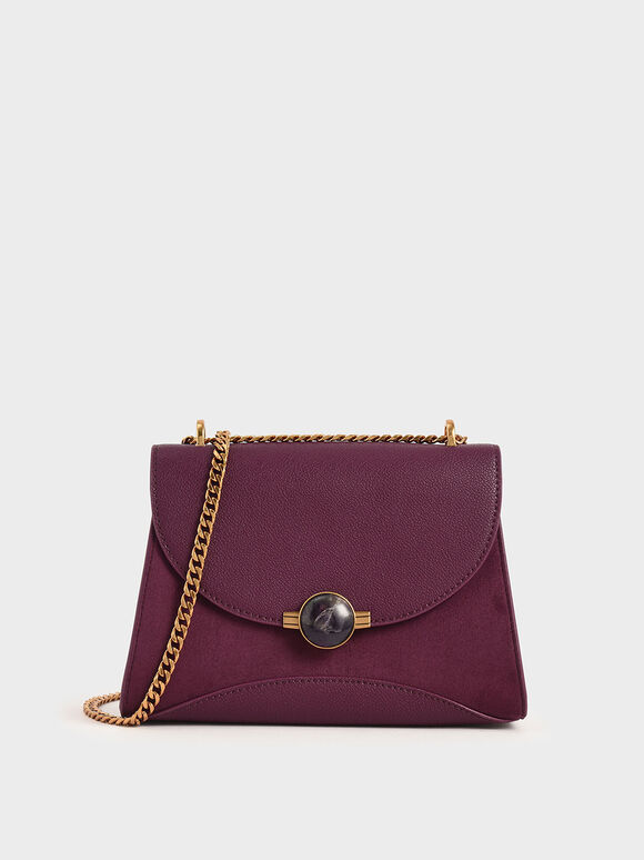 Textured Embellished Push-Lock Bag, Purple, hi-res