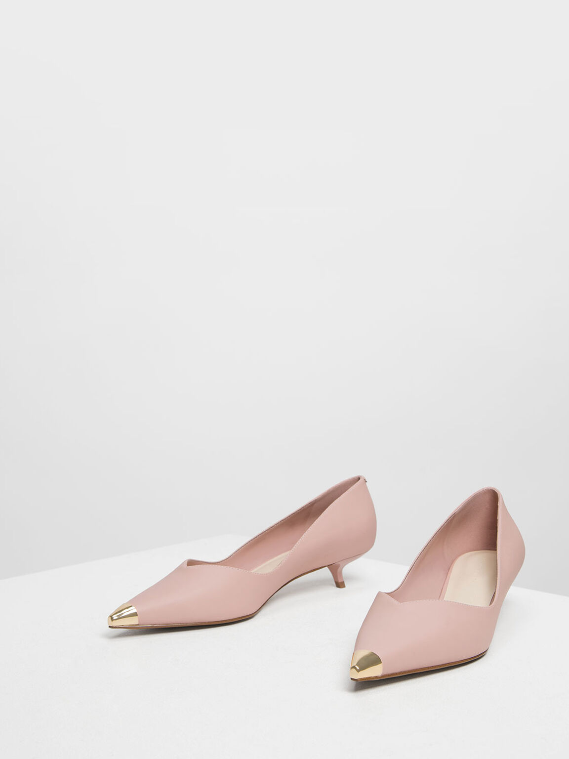 Gold Metallic Tip Kitten Heel Pumps, Nude, hi-res