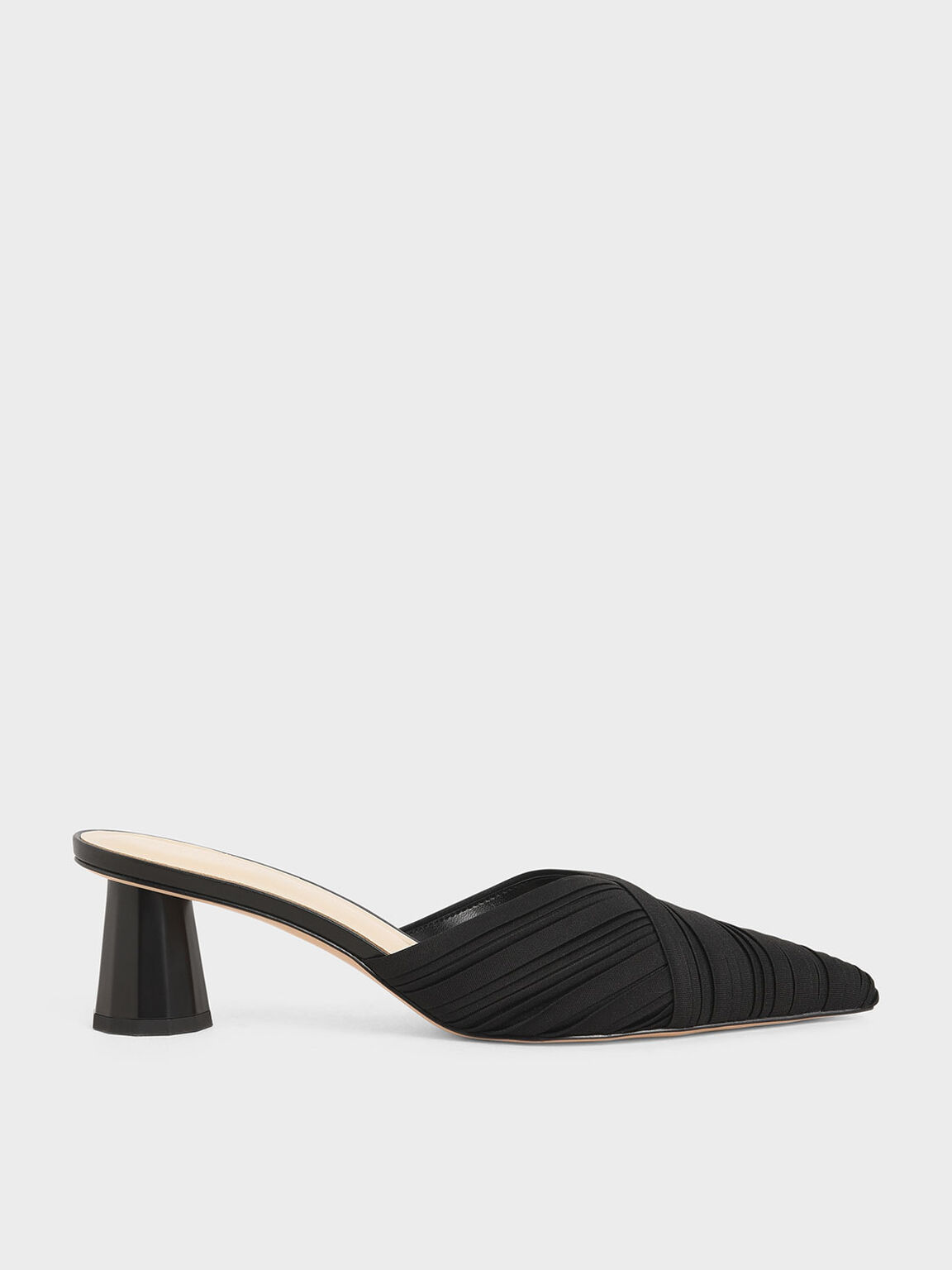 Pleated Pointed Toe Mules, Black, hi-res