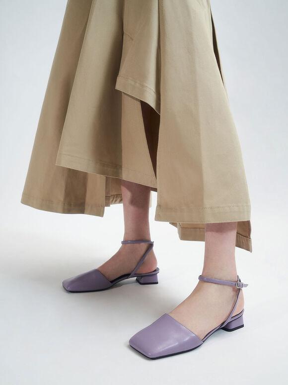 Square Toe Ankle Strap Pumps, Lilac, hi-res