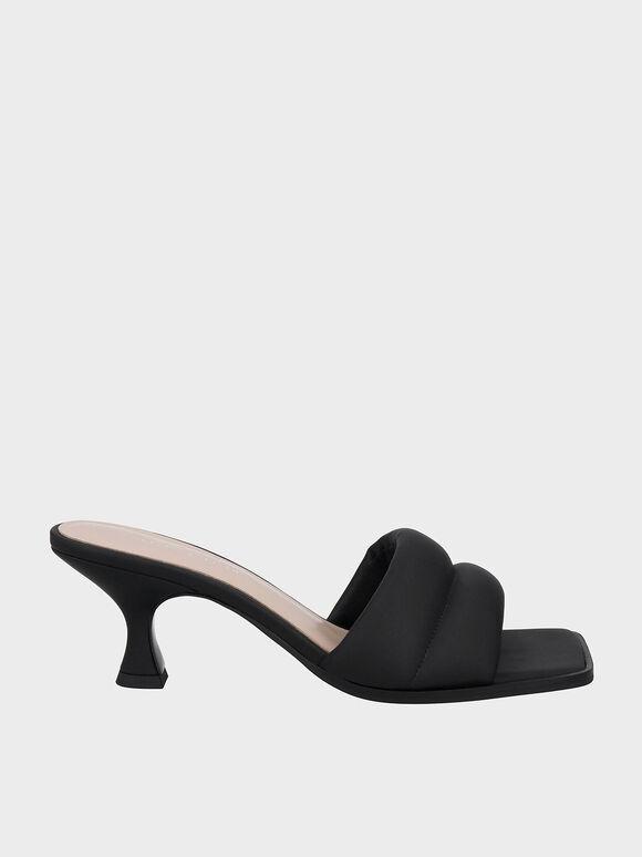 Padded Square Toe Mules, Black, hi-res