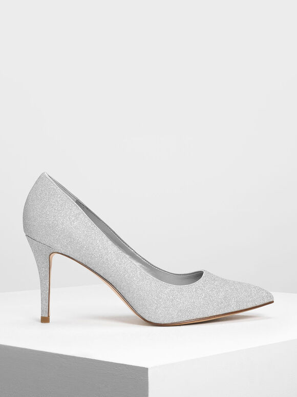 Glitter Pumps, Silver, hi-res