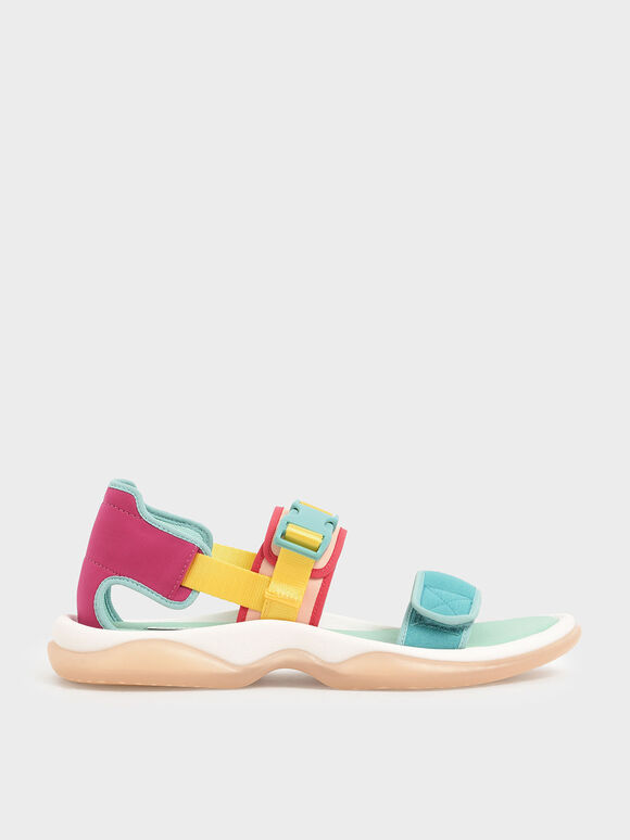 Strappy Chunky Sandals, Teal, hi-res