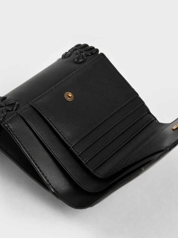 Stitch-Trim Short Wallet, Black, hi-res