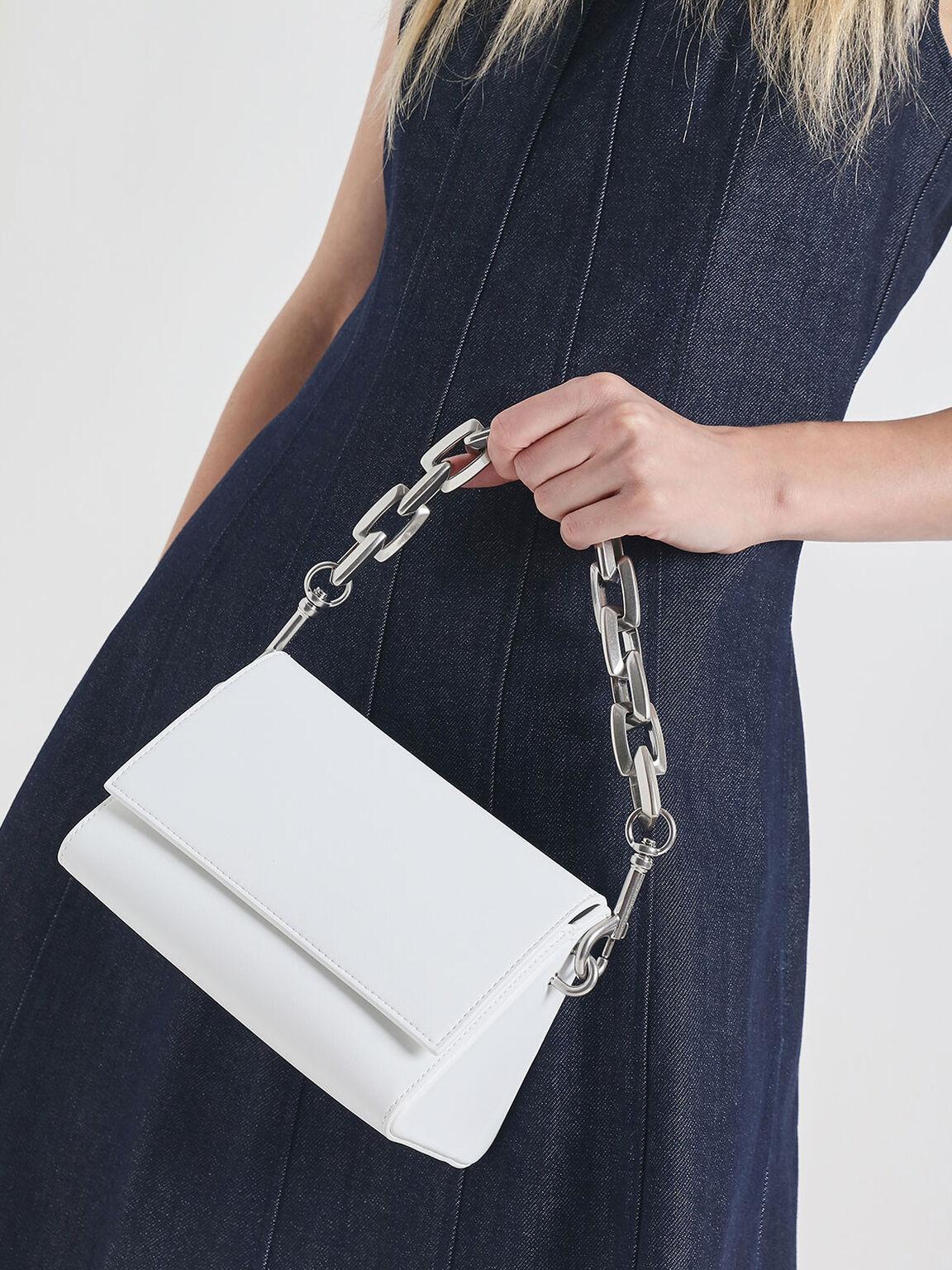 Chunky Chain Handle Crossbody Bag, White, hi-res