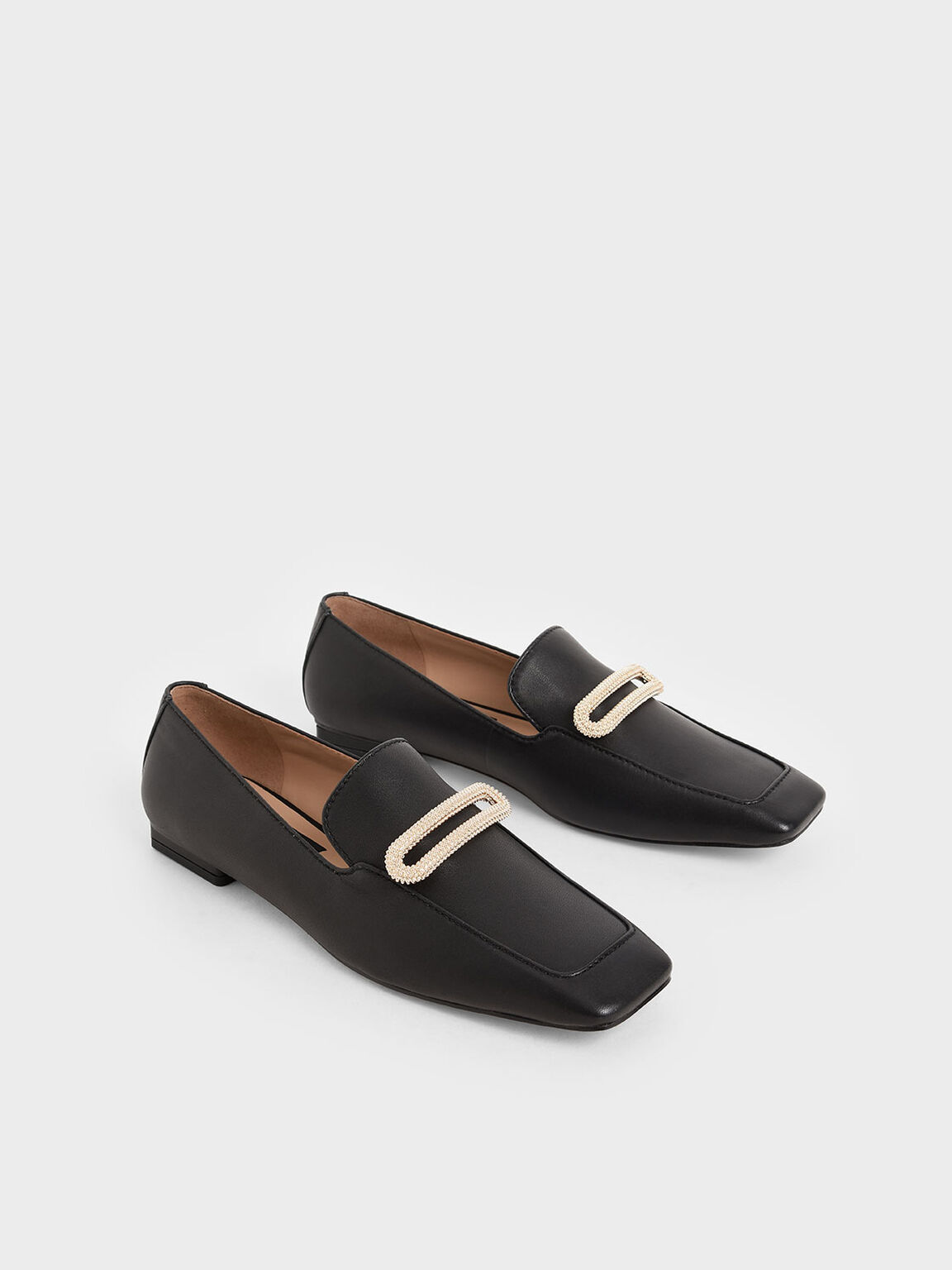 Leather Metallic Accent Loafers, Black, hi-res