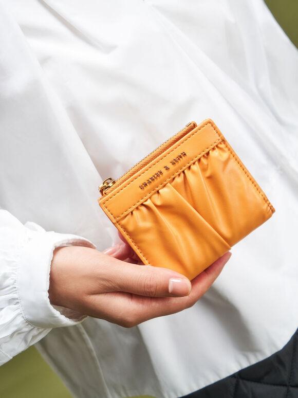 Ruched Short Wallet, Mustard, hi-res