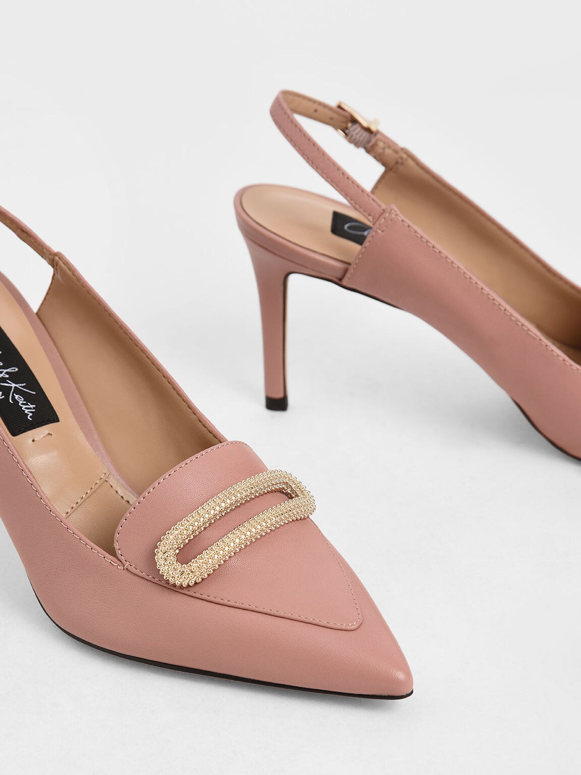 Leather Metallic Accent Pumps, Blush, hi-res